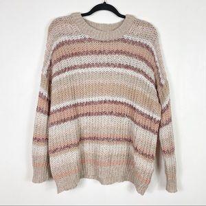 American Eagle - Striped Open Knit Sweater
